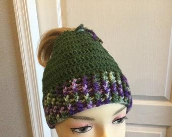Hats by Nancee LARGE Hand crochet messy bun hats ponytail  9a462d32f2ac