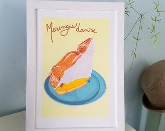 "Poster Meringue lemon pie ""merengue danse"" / Kitchen design"