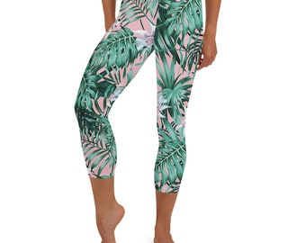 Abstract Palm Leaves Women/'s Yoga Pants