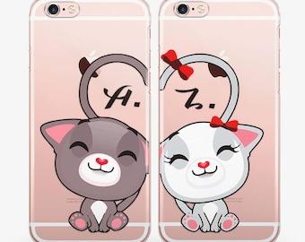 Cute Cat iPhone X Case iPhone 7 Case Couple iPhone 8 Case iPhone 6 Case iPhone SE Case Samsung Galaxy S8 Case Personalized Phone Case AC1705