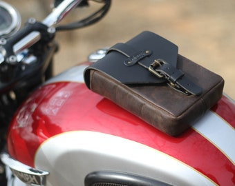 Leather Motorcycle Tank Pouch Tobacco Brown