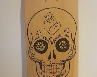 SkateBoard 100% handmade Sugarskull skate
