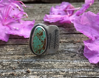 Turquoise Sterling Silver Ring with Stamped Pine Trees