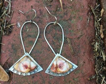 Birds Eye Jasper Sterling Silver Dangle Earrings
