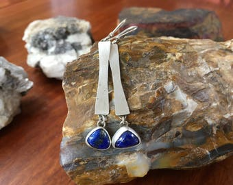 Sterling Silver Dangle Earrings with Lapis Lazuli