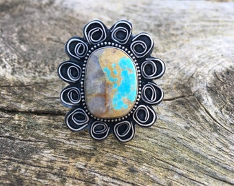 Turquoise Statement Ring with Sterling Silver