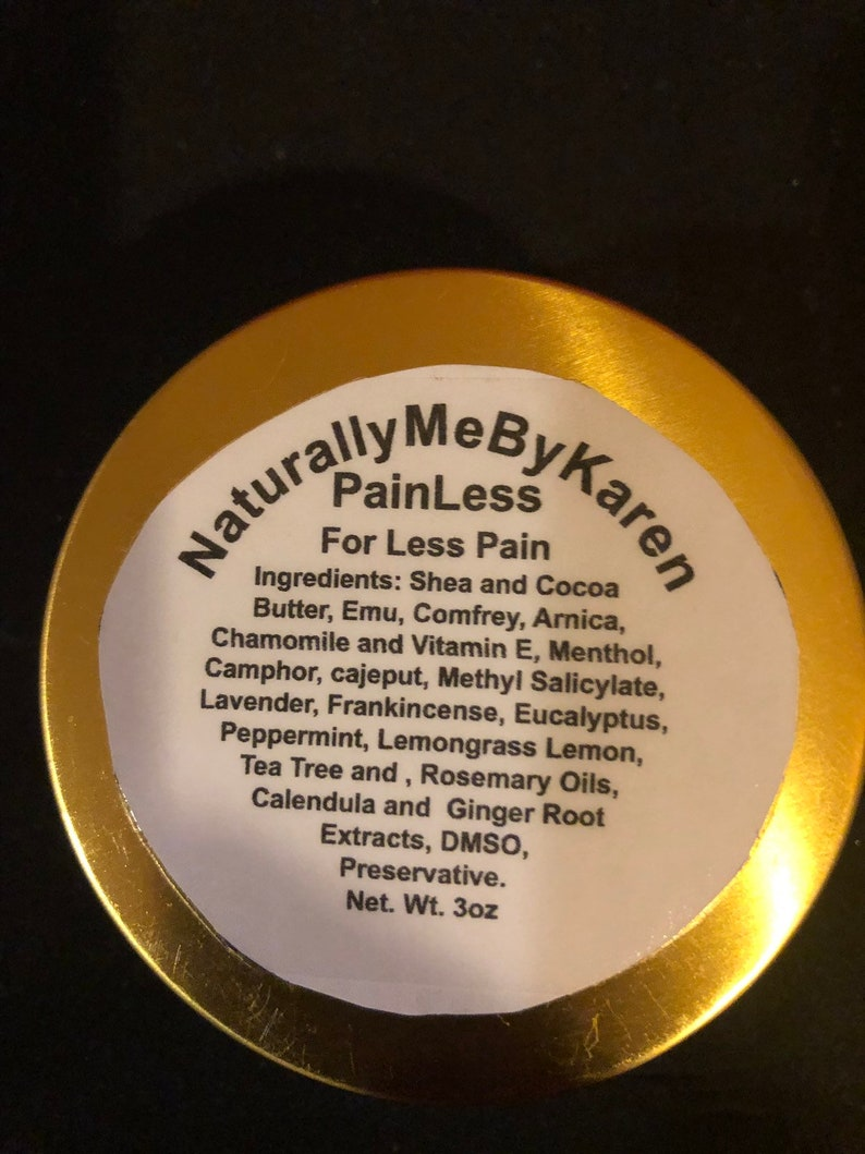PAINLESS For Less Pain - A Pain Relief Balm available in a 3 oz tin with a  screw on lid
