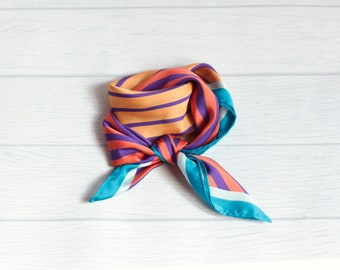 Scarf diagonal//violet yellow aquamarine//scarf stripes//silk scarf for summer//scarf Colorful