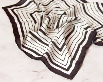 Frame scarf, black and white, scarf, scarf, silk scarf, summer scarf, square silk, bandana,