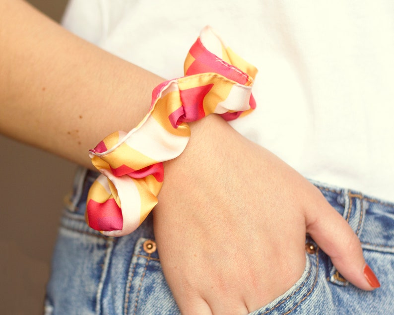 pink yellow and baby pink scrunchie // silk // 90s fashion // image 0