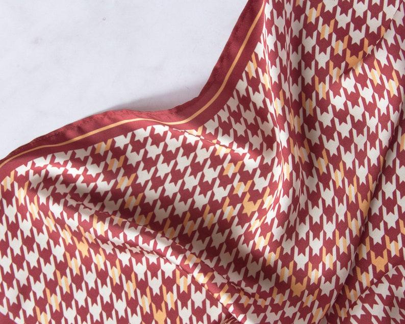 Houndstooth Silk scarf//hen leg//scarf//mustard//combo image 0