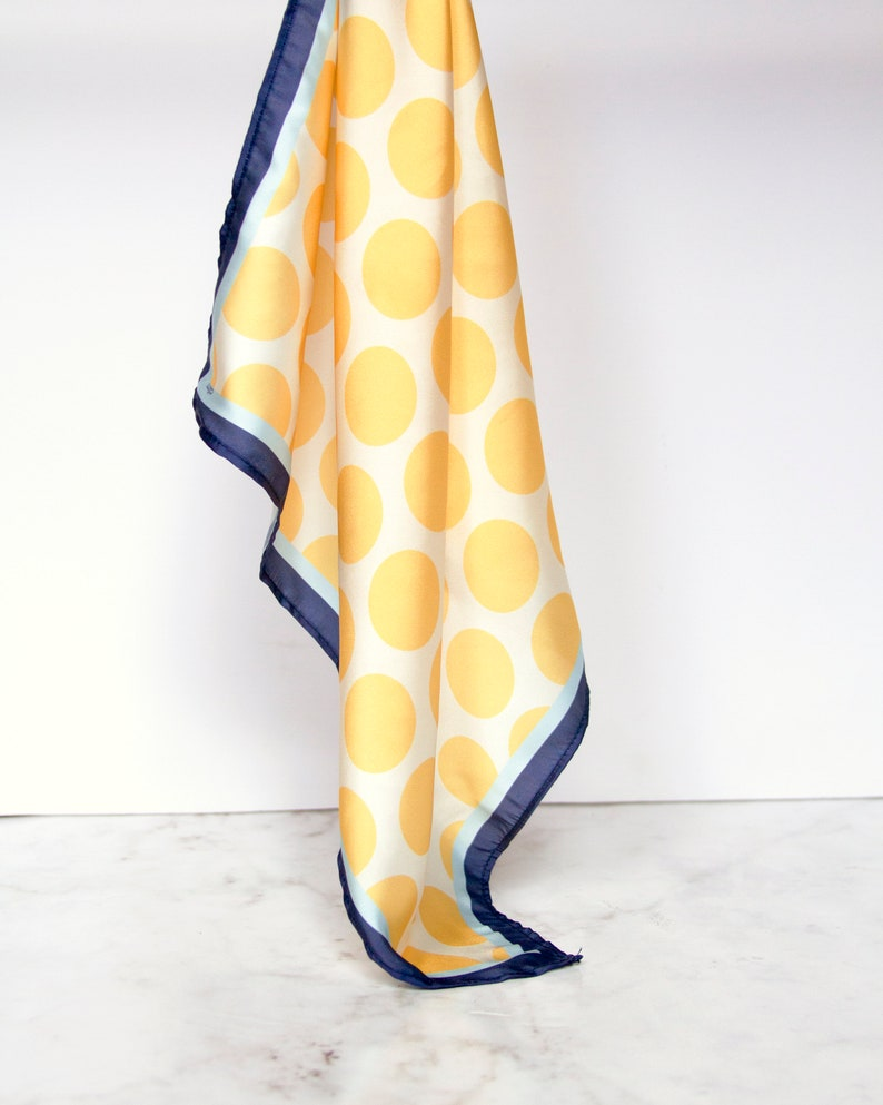 Silk scarf in yellow//Big dots//pastel blue and dark image 0