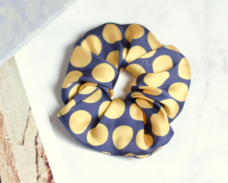 yellow and blue scrunchie // Big dots // handmade // Hair Tie image 0