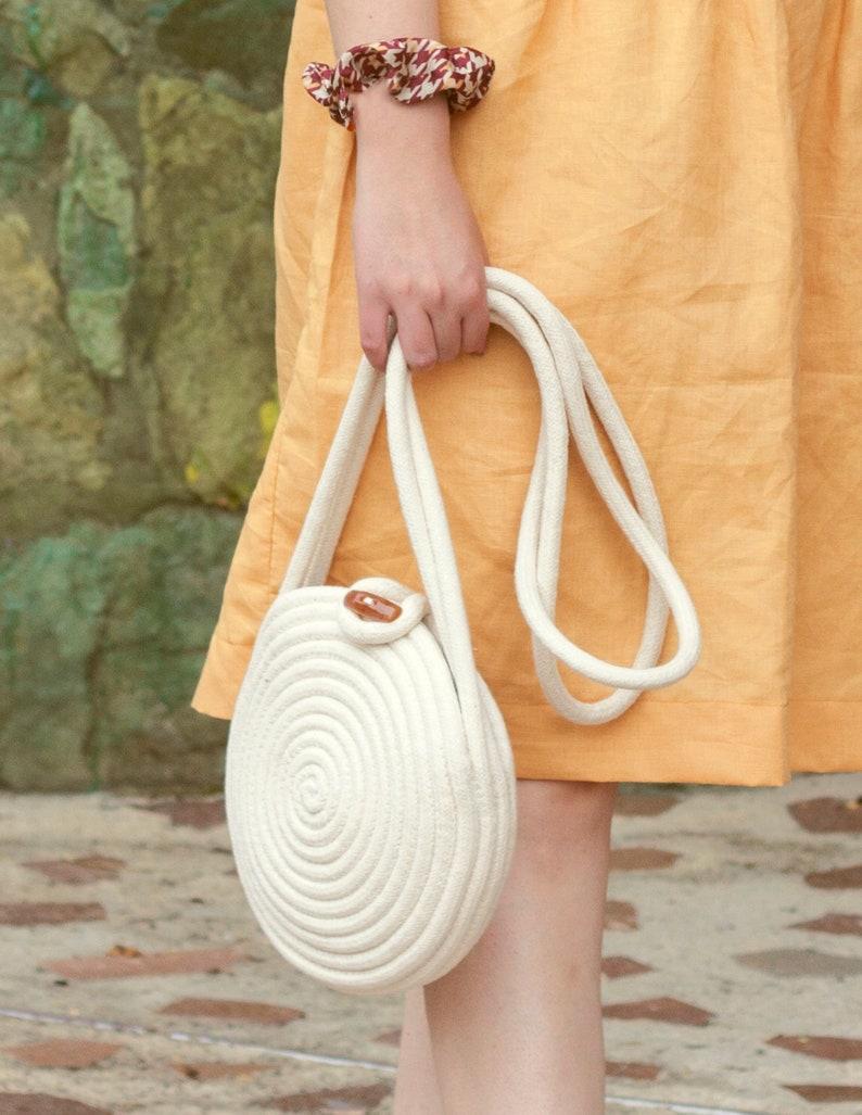 Handmade cotton rope purse//Summer bag//circle bag//small image 0
