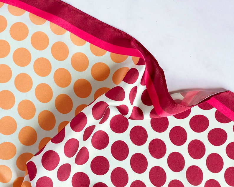 Big dots silk scarf//burgundy and yellow//square silk//summer image 0