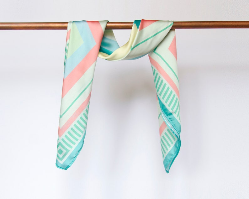 Silk scarf in pastel colors//colors of the sea//pastel blue image 0
