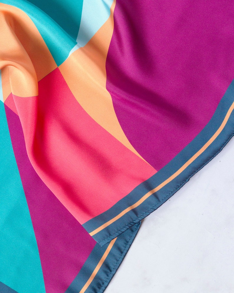 Geometric print scarf//coral violet yellow and blue//summer image 0