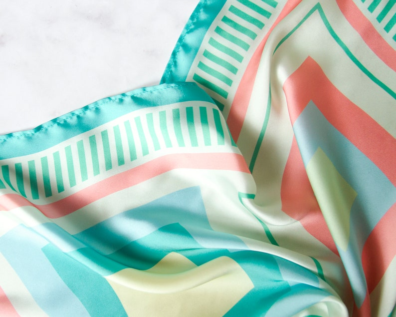 08ab349f0d1d9 Silk scarf in pastel colors//colors of the sea//pastel blue, green and soft  coral//summer or Spring fashion//head scarf//Square