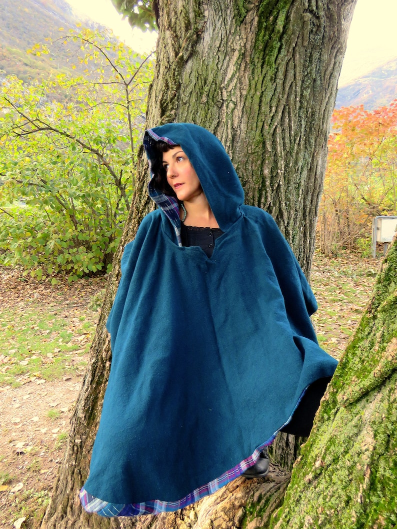One Size Petrol  Purple Doublefaced Poncho,Witch Fairy Pagan Elven Woodland Priestess Forest Fairytale Magic Riding Hood Cosplay Mori Kei