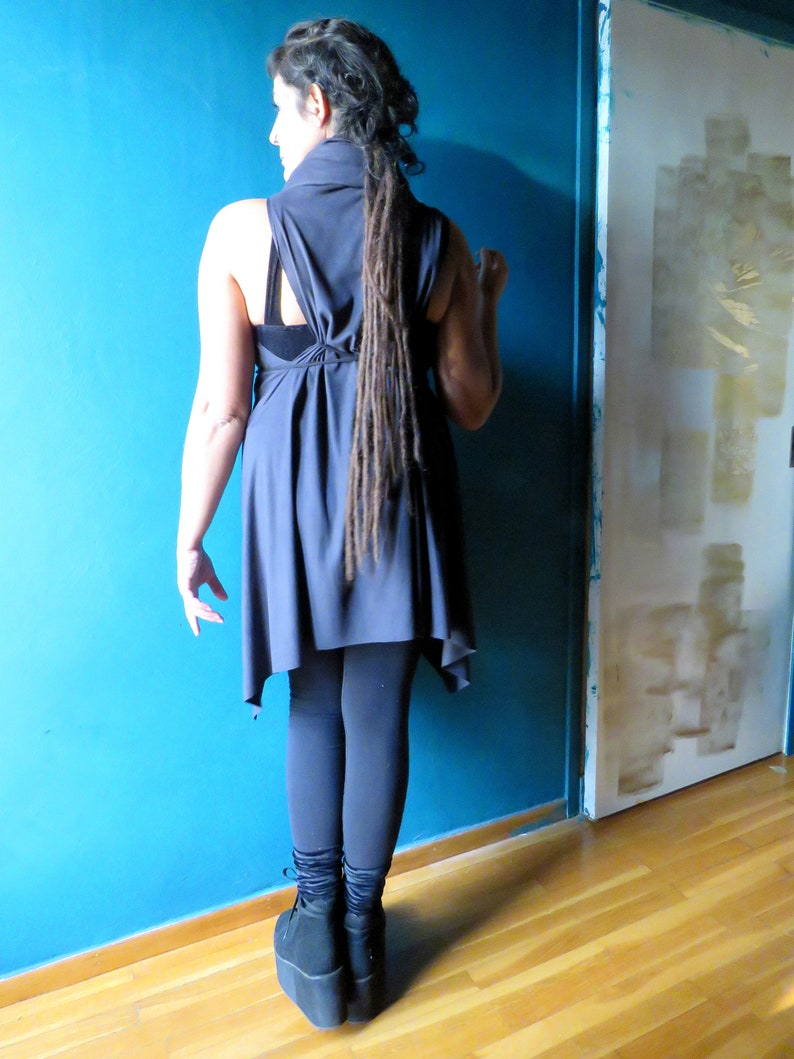 Black Fairy Jacket Pointed Hood Faux Suede Charcoal Elf Celtic Woodland Gothic Rave Festival Druid Wiccan Forest Sleeveless Multiuse Dress