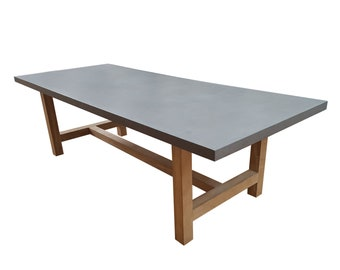 Relentless™ Concrete Dining Table with Oak Base