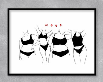 Illustration Print Us Women
