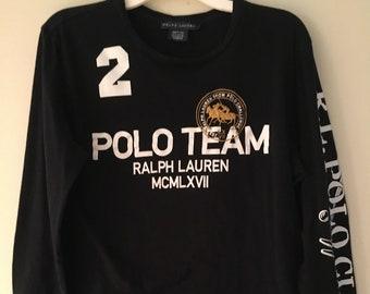 6bdd3dab61f04 Vintage Ralph Lauren black Polo Team long sleeve embellished t-shirt jersey  embroidered RL Polo Challenge emblem