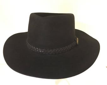 Vintage handmade akubra imperial quality pure black fur felt western cowboy/outback hat, Outback Trading, Jackaroo Outback Collection.