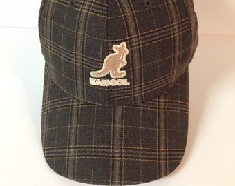 052ba6d4312 Vintage Kangol dark brown plaid quality hat cap adult stretch L XL