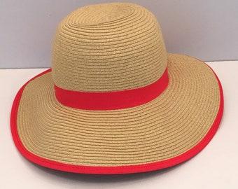 7ca6c270 Vintage women's handmade Panama Jack wide brim summer/sun outdoor, packable  paper braid tan/red trim hat, one size.
