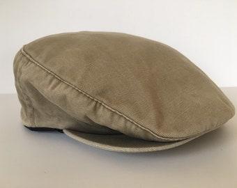 Vintage Totes khaki cotton cabbie newsie driver hat d6e92f58fd5f