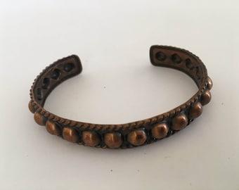 "Vintage Genuine Copper Women's Handmade Tooled Bracelet Sz 6..5"" Wrist"