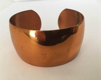 """Vintage Genuine Copper Women's Wide Handmade Bracelet Sz 6.25"""" Wrist"""