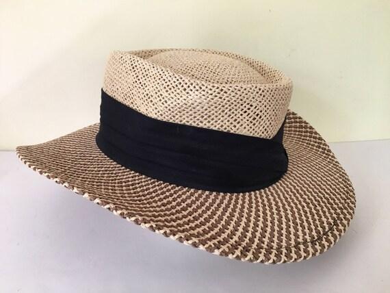 7d5fbb13413b1 Vintage AHead panama woven straw hat unisex adult size M L