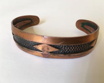 "Vintage Genuine Copper Women's Handmade Tooled Bracelet Sz 6.5"" Wrist"