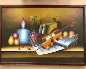Vintage original still life signed oil painting on canvas violin/sheet music/books/fruit/pitcher on table, solid wood frame.