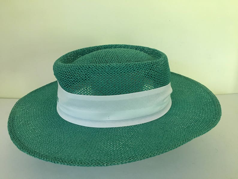 Vintage Walt Disney World turquoise panamaboater woven straw hat adult one size Spring Summer.