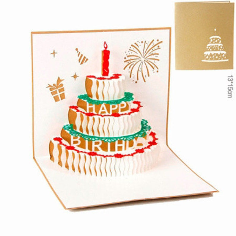 3D Greeting Cards Birthday Cake Gift Idea Card
