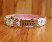 Beautiful floral Dog Collar Embroidered, Pink floral Dog Collar Personalized, Rose flower Dog Collar, floral Dog Collar, floral Pet Collar