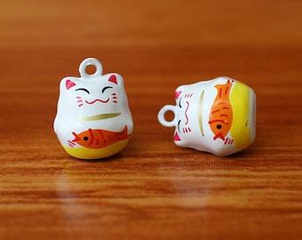 Lucky Cat Jingle Bells, Lucky Cat Cute Charm, Cute Cat collar charm, Cat Collar Bells, Decorative jingle bells, Cartoon charms/ 1 Pc