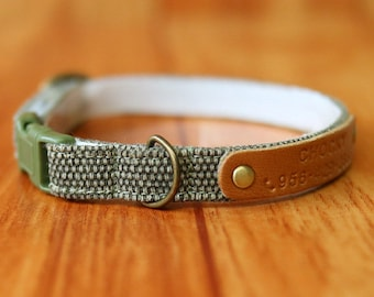 Green Earth Tone Cat Collar Personalized, Natural Green Personalized Cat Collar, Olive Green Cat Collar, Green Breakaway Cat Collar