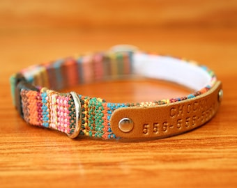 Colorful Boho Cat Collar Personalized, Tribal Cat Collar Engraved, Multi Striped Cat Collar Breakaway, Chocky Cat Collar