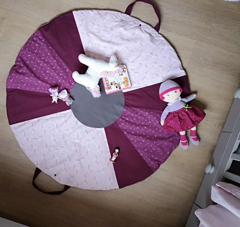 Tapis de jeux /sac de jouets nomade matelassé thème licorne | Etsy
