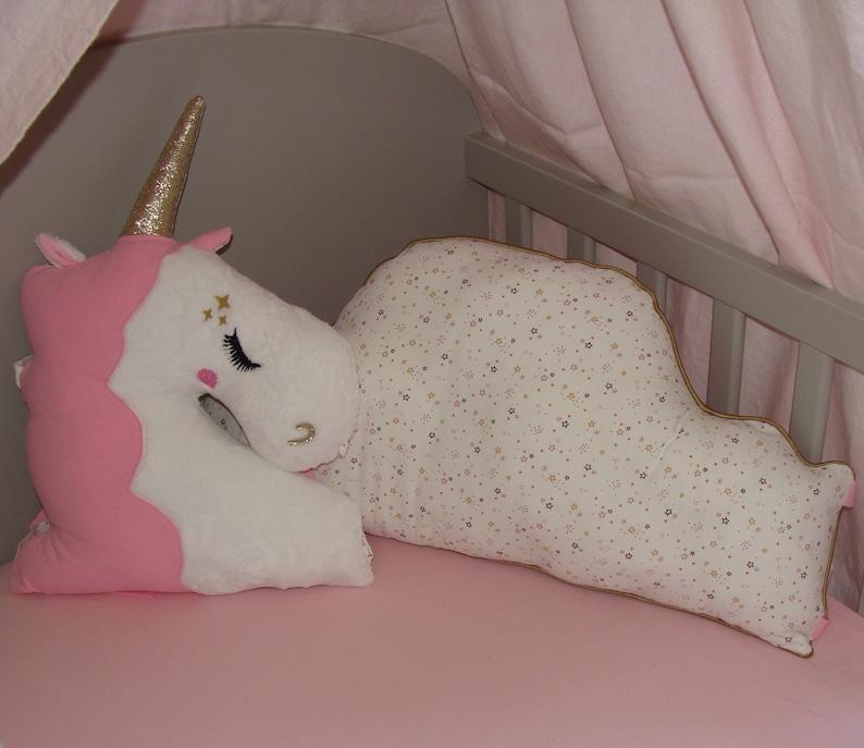 Tour de lit bébé fille thème Licorne et nuage rose et or | Etsy