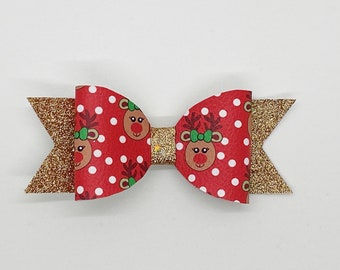 Reindeer Gold Glitter Hair Bow or Collar Accessory