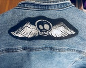 winged death 39 s head skull iron on back patch