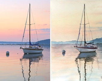 Custom painting from photo custom watercolor painting custom order landscape commission art