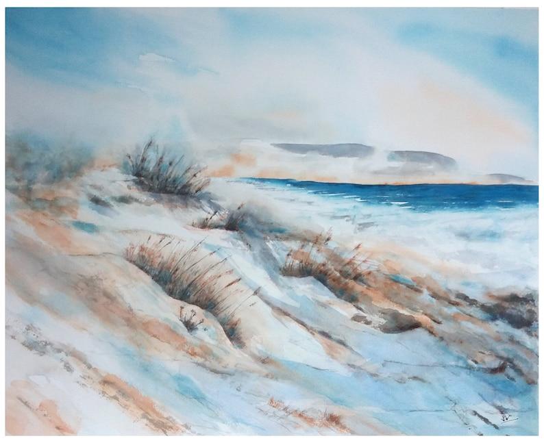 Peinture Originale Aquarelle Paysage Marin Bord De Mer Dunes Fait Main