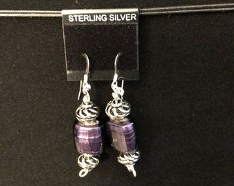 Adorable Purple Beaded Earrings
