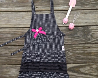 Girls Apron - Black Ruffle